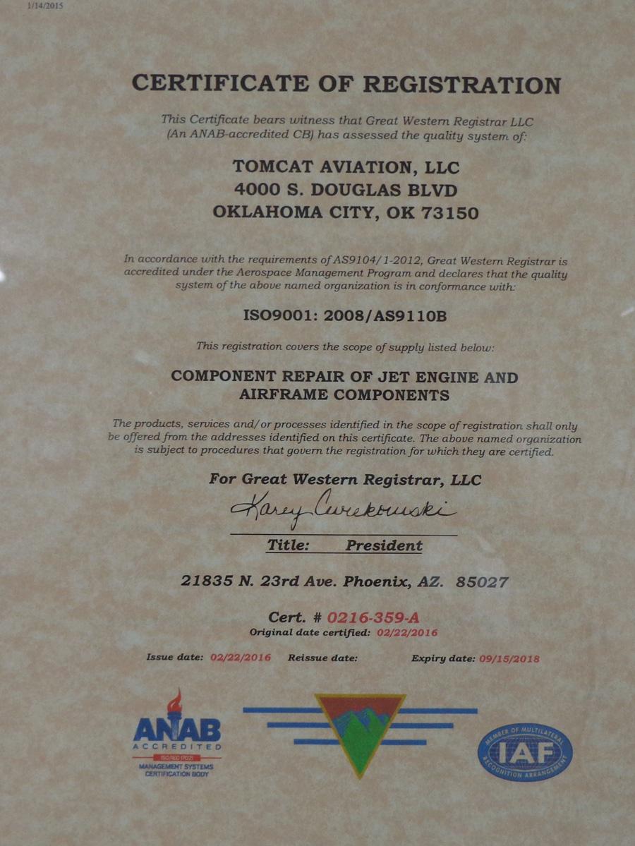 Tomcat Aviation, LLC, certificate registration
