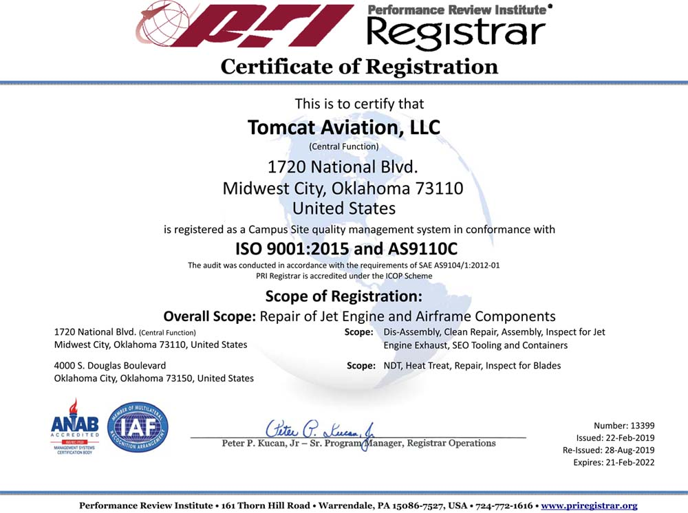 Performance Review Institute, Certificate of Registration, Tomcat Aviation