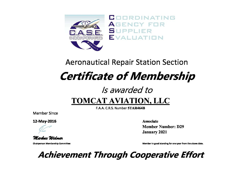 TOMCAT AVIATION, LLC Certificate 2021-1